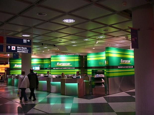 Europcarin toimipiste Münchenin lentokentällä Saksassa.